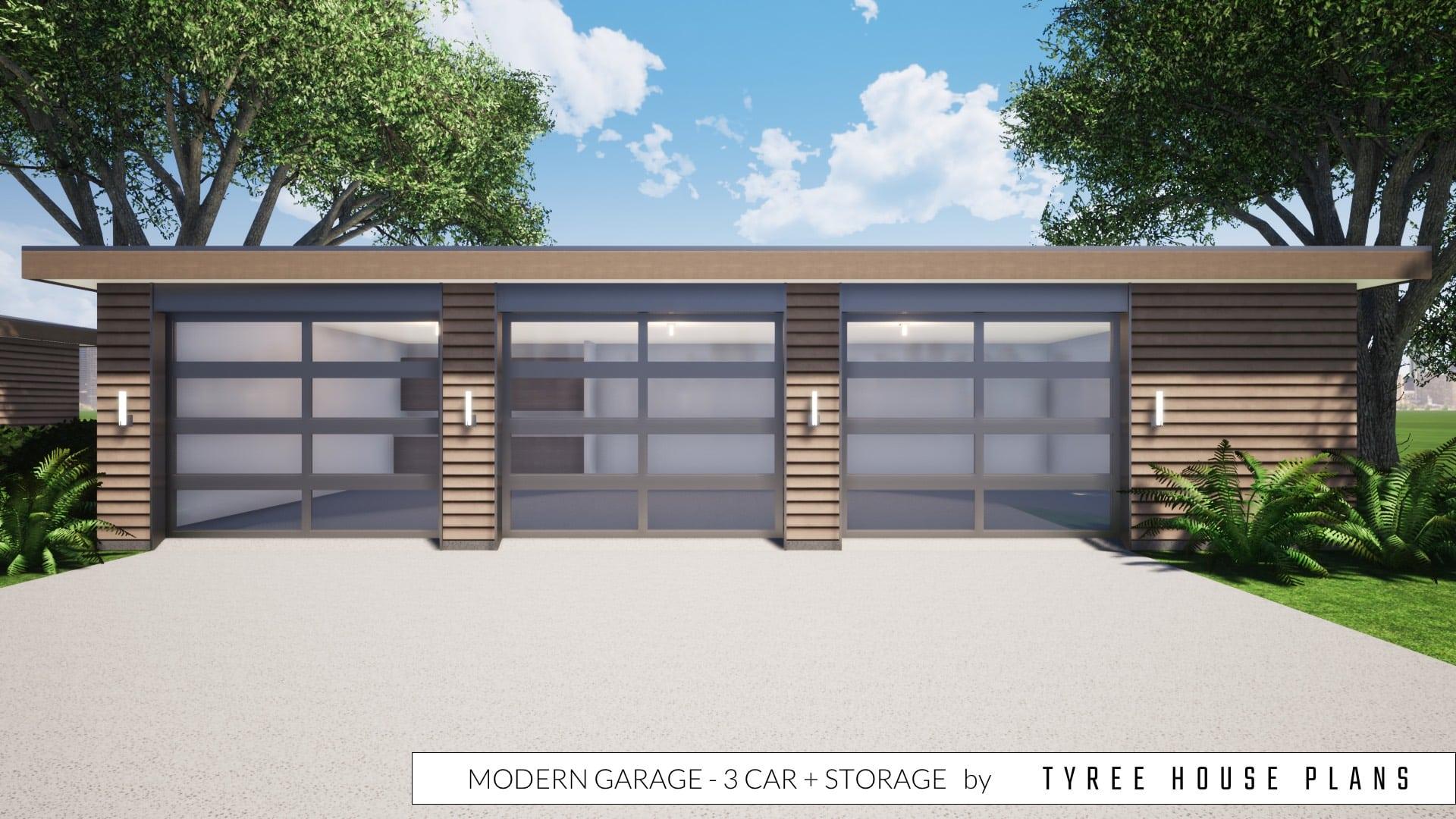 Modern Garage - 3 Car plus Storage by Tyree House Plans