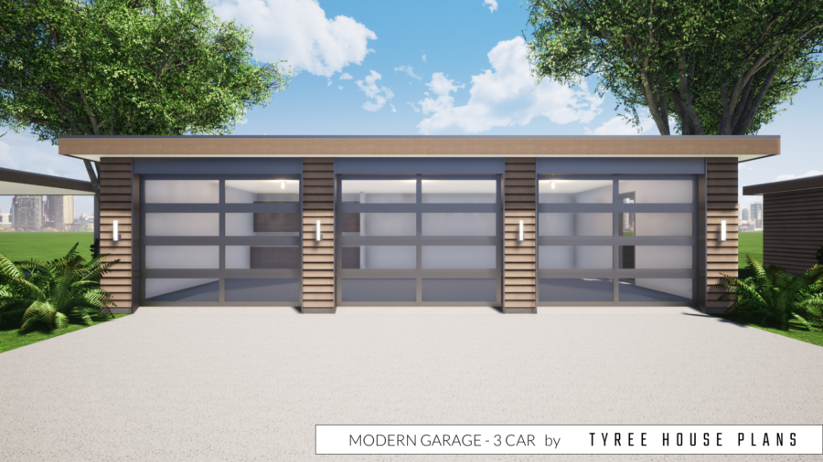 Modern Garage Plan - 3 Car by Tyree House Plans