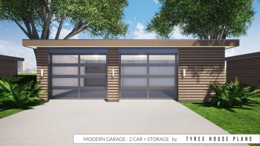 Modern Garage - 2 Car with Storage by Tyree House Plans