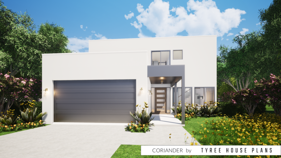 Simple Modern Home. 4 Bedrooms. Coriander by Tyree House Plans.