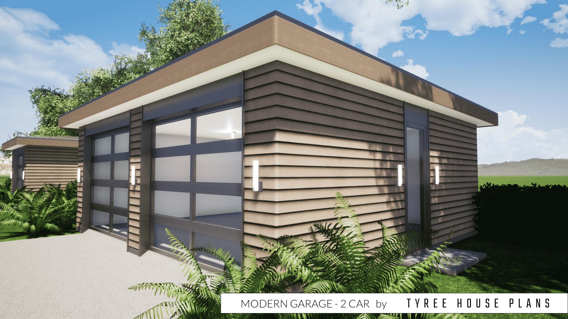 Modern Garage Plan - 2 Car by Tyree House Plans