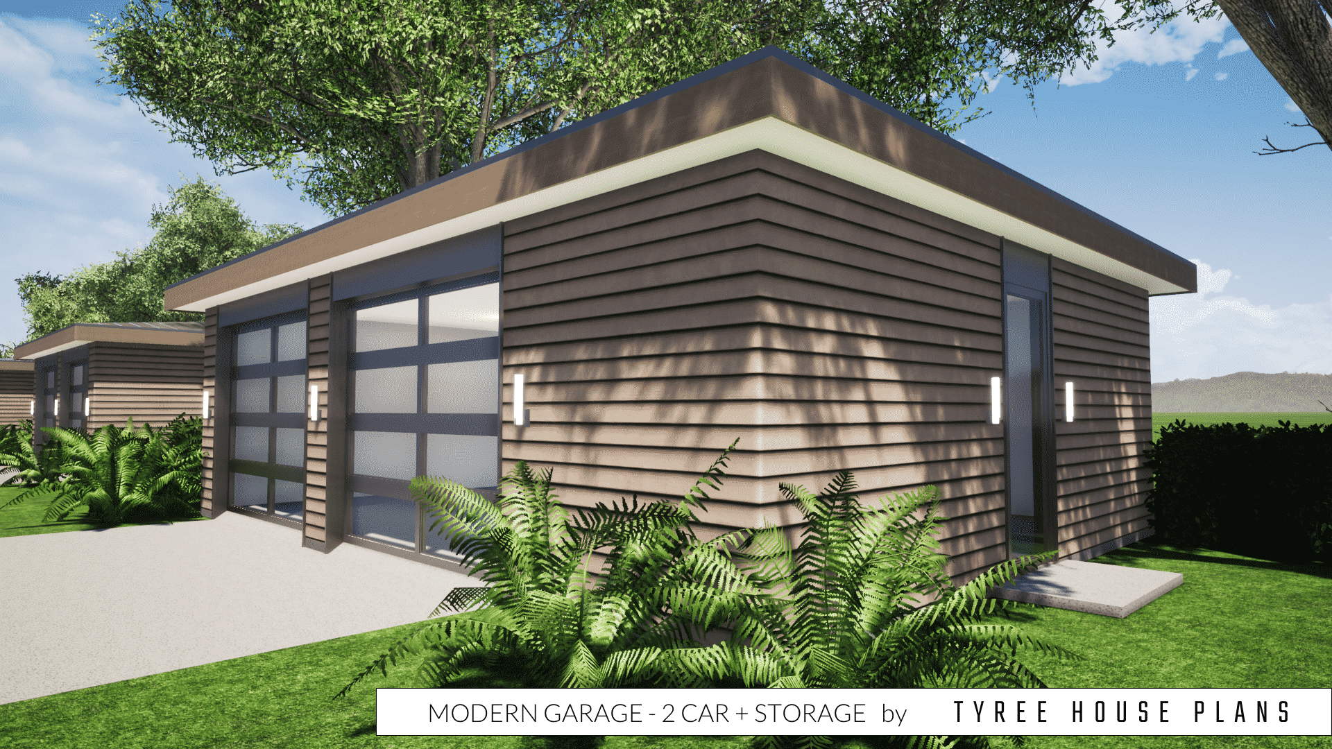 Modern Garage Plan - 2 Car plus Storage by Tyree House Plans