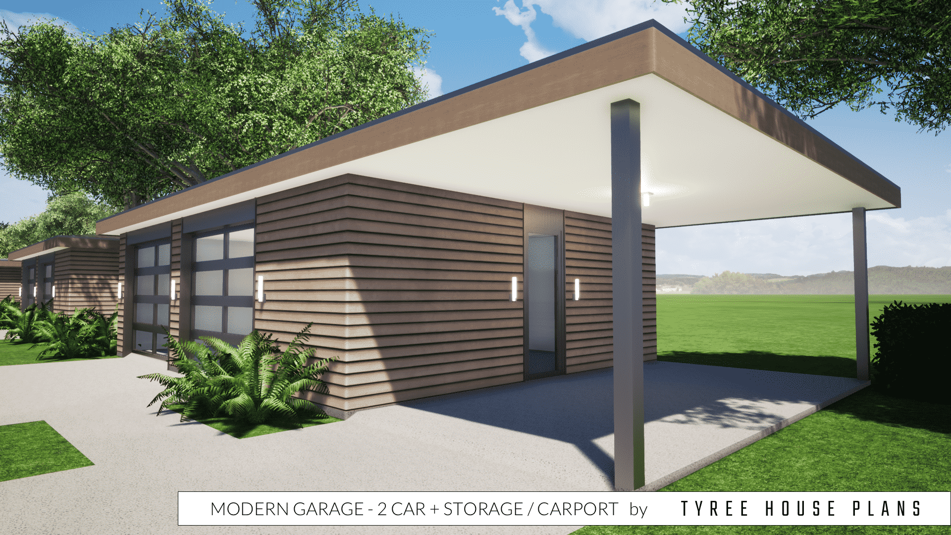 Modern Garage Plan - 2 Car plus Storage and Carport by Tyree House Plans