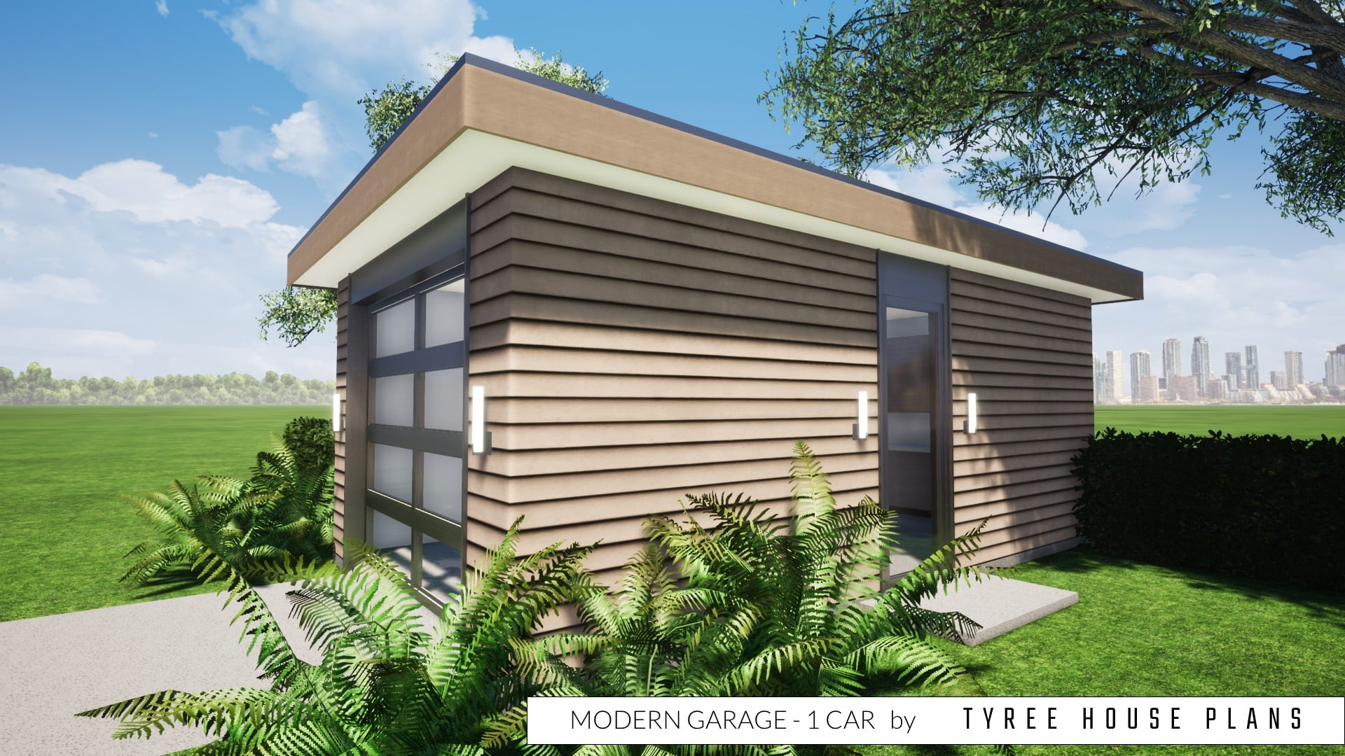 Modern Garage - 1 Car by Tyree House Plans