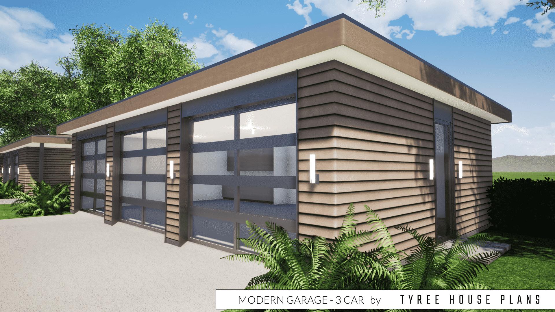 Modern Garage Plan - 3 Car by Tyree House Plans