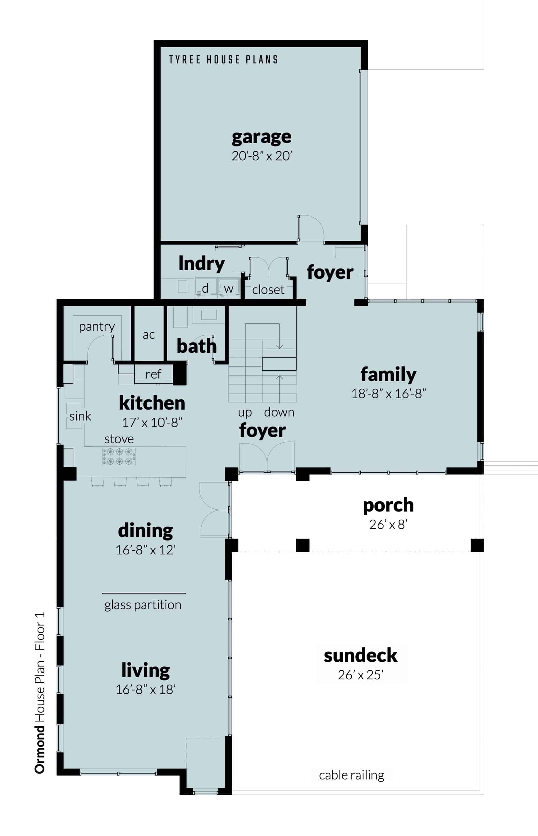 Floor 1 - Ormond House Plan by Tyree House Plans