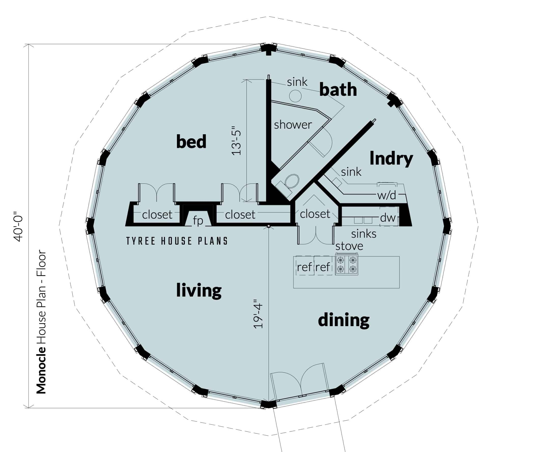Floor - Monocle House Plan by Tyree House Plans